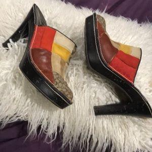 Fab Vintage Coach Color Block Logo Mule Shoes 7.5